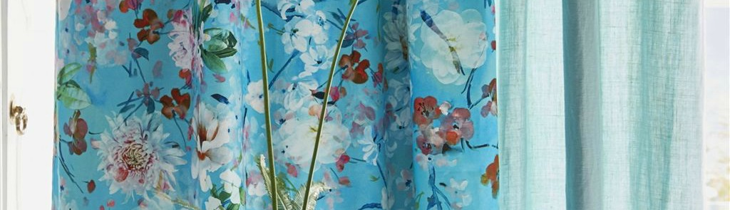blue floral rose fabric