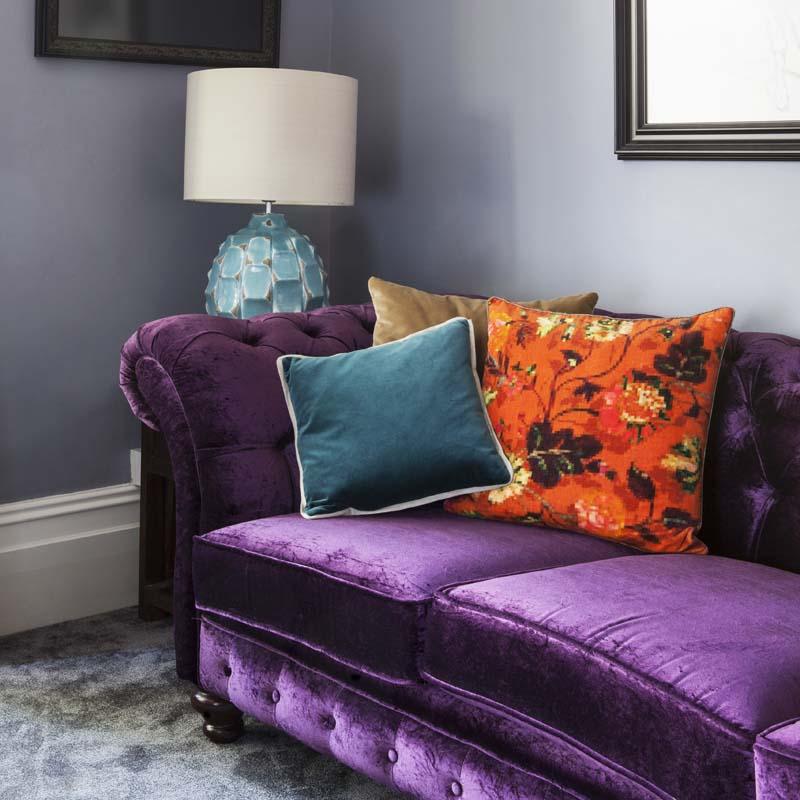 Purple Crushed Velvet Sofa