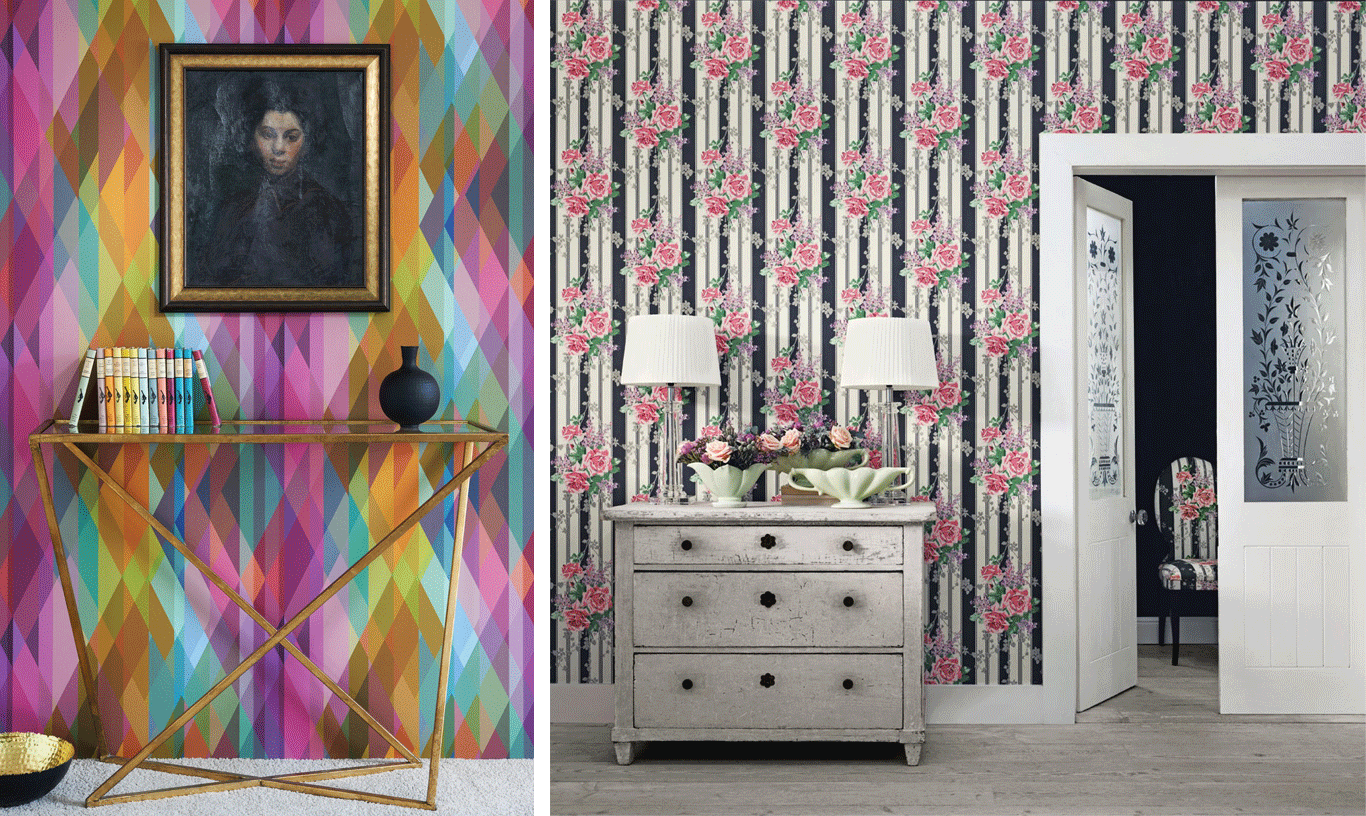 Floral and geometric wallpaper for feature walls