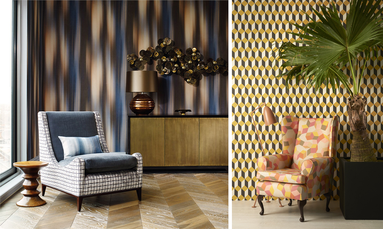 Patterned wallpapers used for feature walls