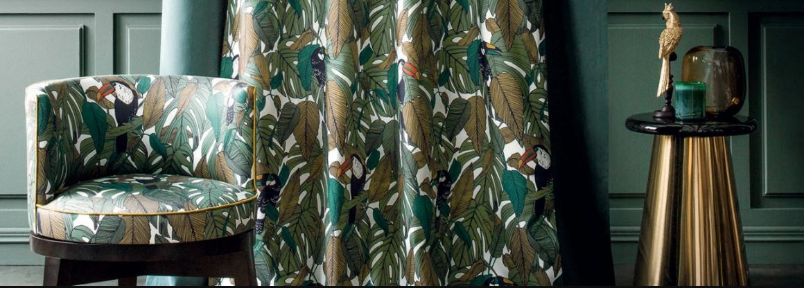 Green and Brown Tropical Print Chair and Curtains