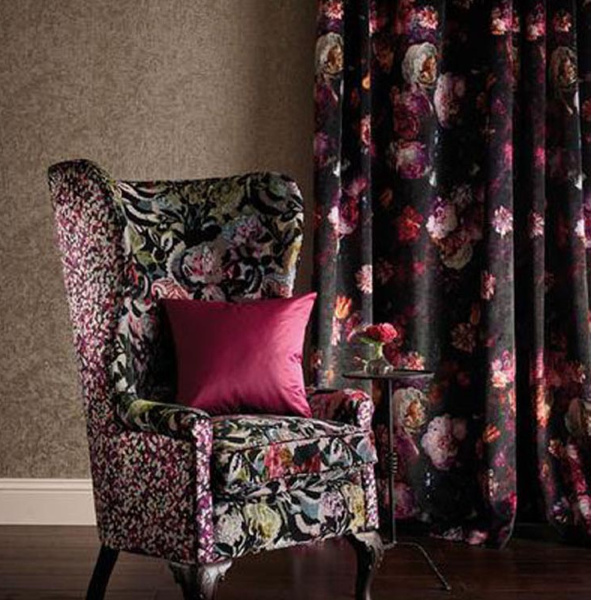 Black curtain with red and pink rose floral pattern