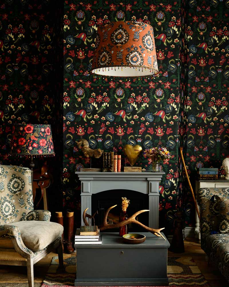 Black Floral Fabric Wallpaper