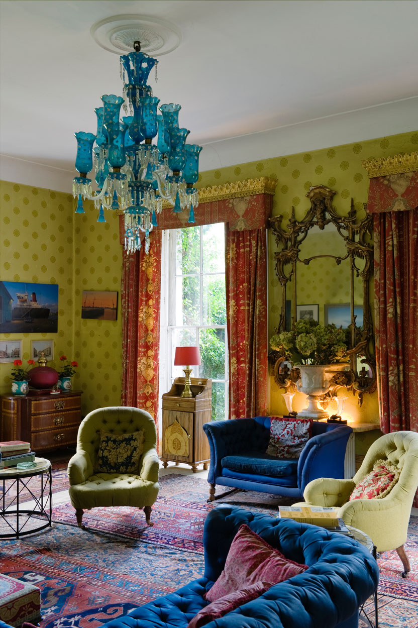 Eclectic Interior | Lime Green Wallpaper | Bright Interiors