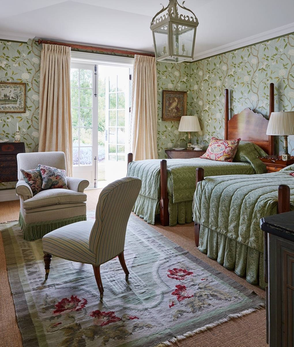 Green Floral Wallpaper in this pretty bedroom
