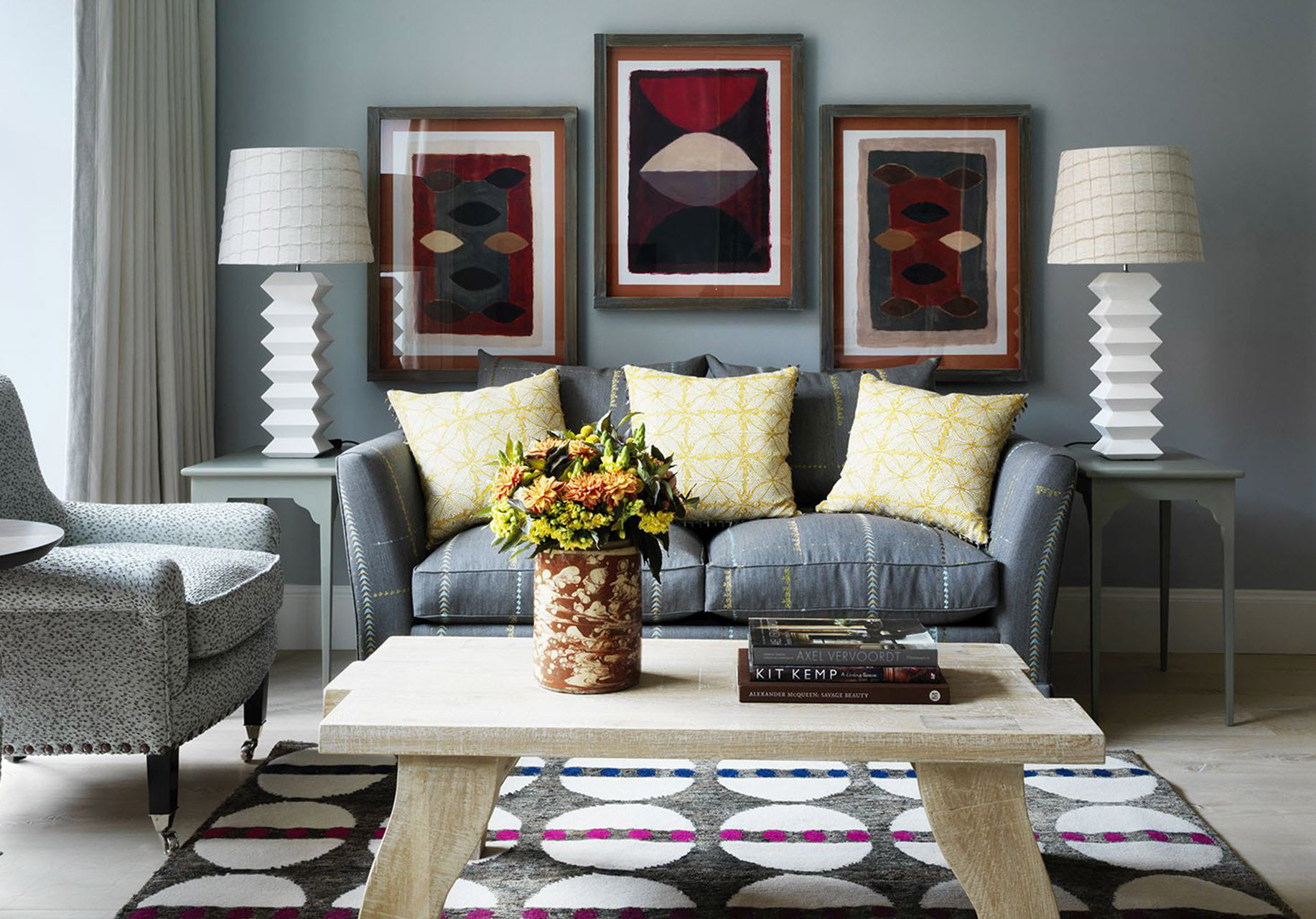 Grey Sitting Room with Modern Art and Yellow Cushions