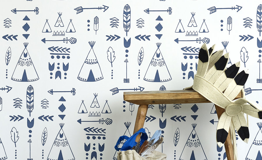 Blue indian headress print wallpaper