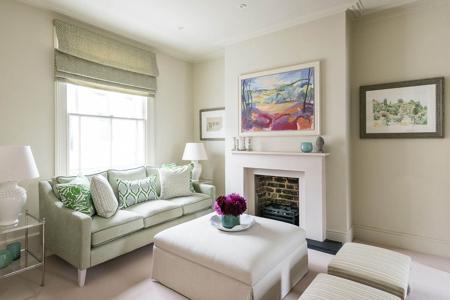 White Living Room with Accents in Vibrant Green