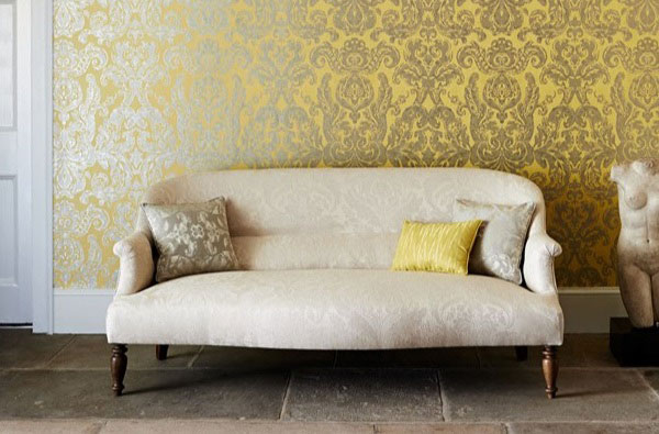 gold and yellow damask wallpaper