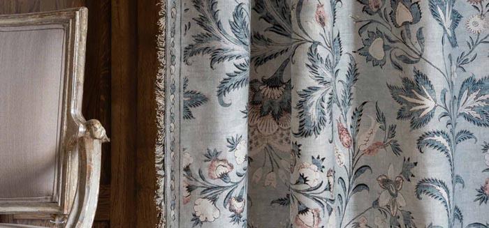 tribal blue curtain fabric