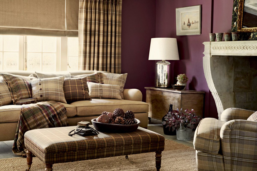 Patterned Chair In Aubergine Tones Aubergine And Warm Cream Living Room  Scheme