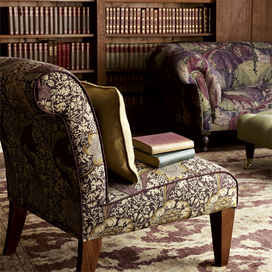 Patterned chair in aubergine tones