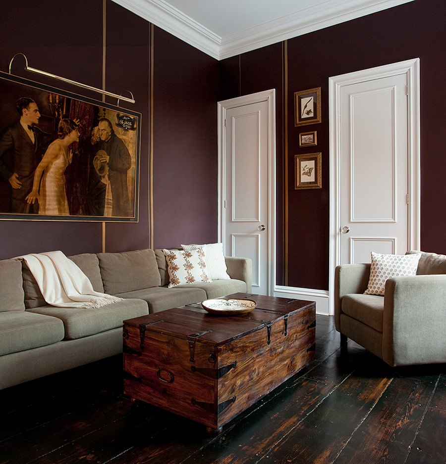 Aubergine Living Room With Grey Accents
