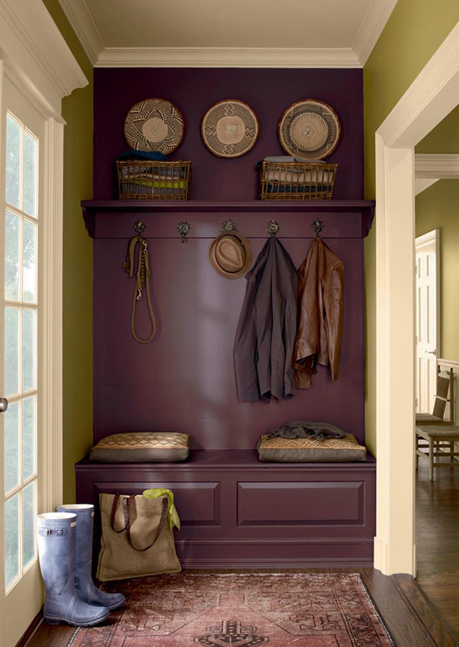 Hallway in cool aubergine tones
