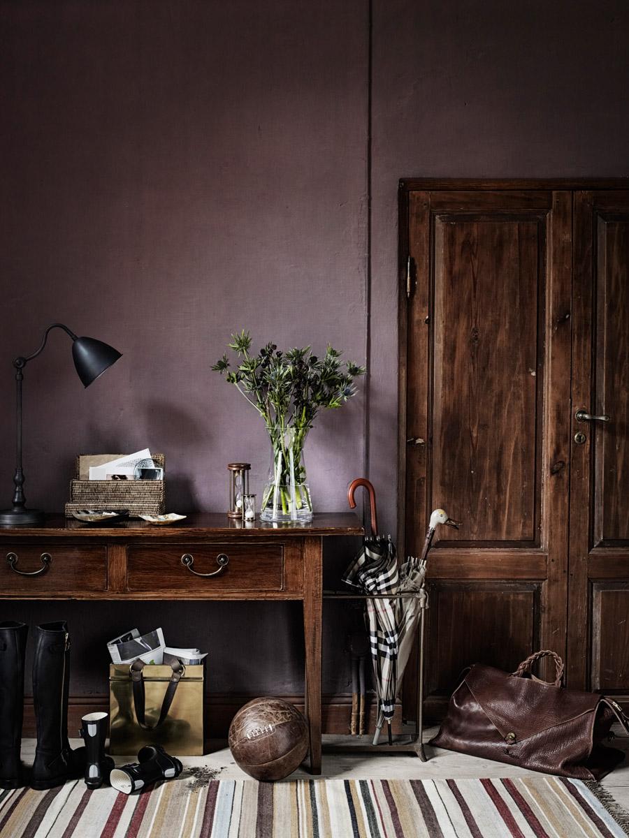Hallway in cool aubergine palette