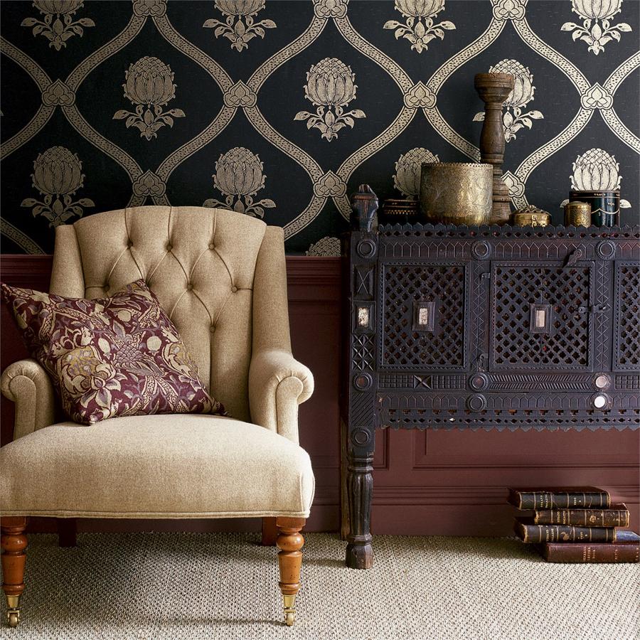 Aubergine cushion on armchair