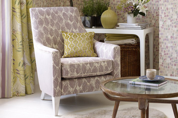 Patterned mauve and green room