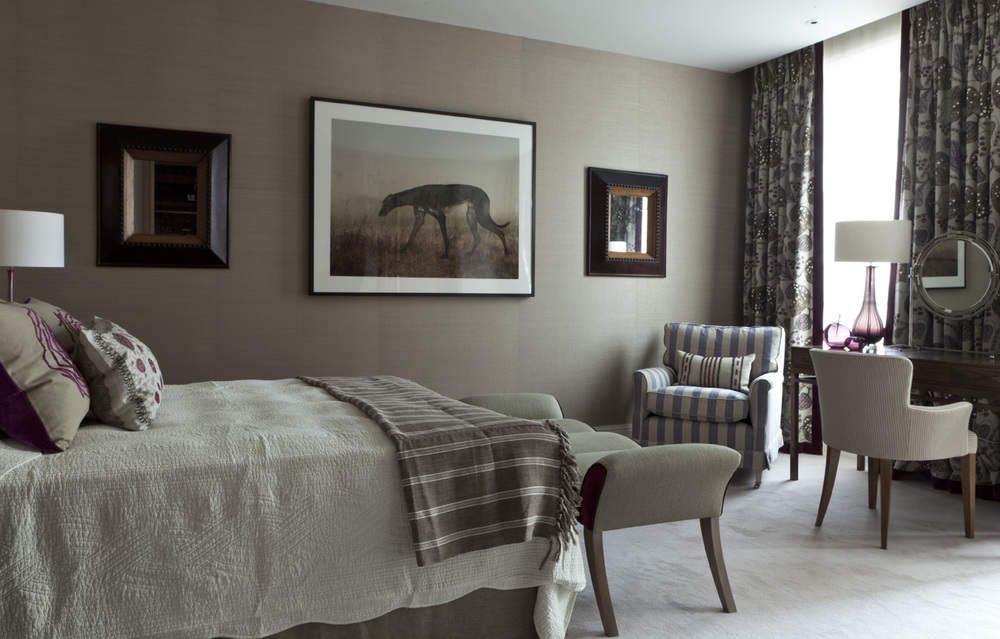 A masculine Bedroom in Greys and Beiges