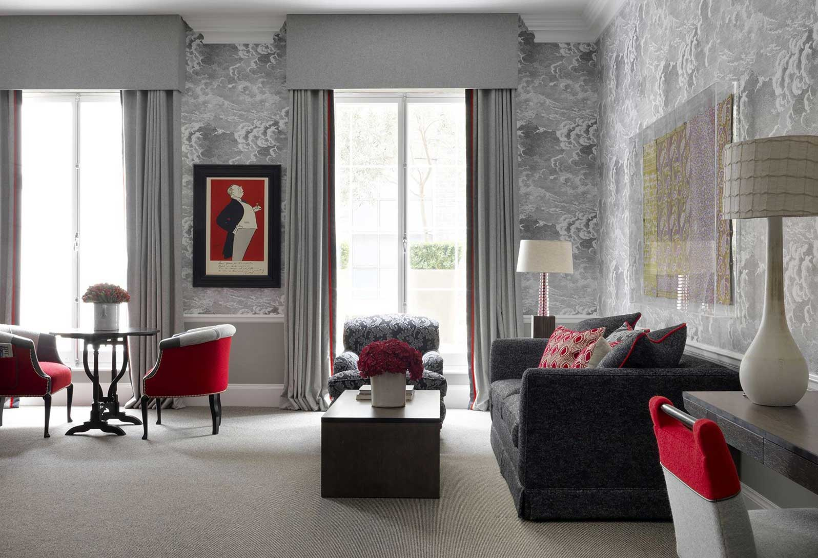 Grey Living Room with accents in red