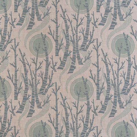 Birch Tree Sun Fabric by Angie Lewin