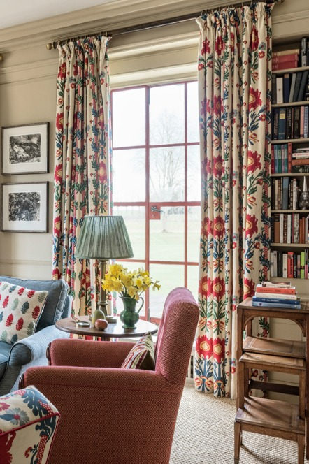 floral red, white and blue curtains