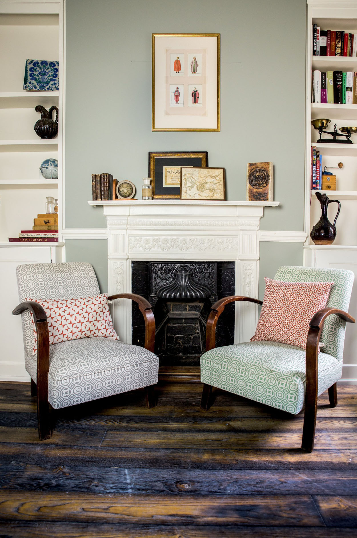 Pair of 1030's chairs covered in retro fabrics