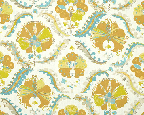 A printed ikat design in golden yellow and turquoise on an off white linen