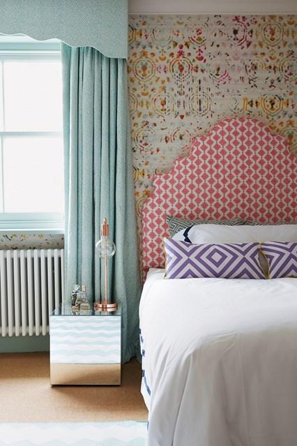 Grown Up Girls Bedroom with Elaborate Headboard