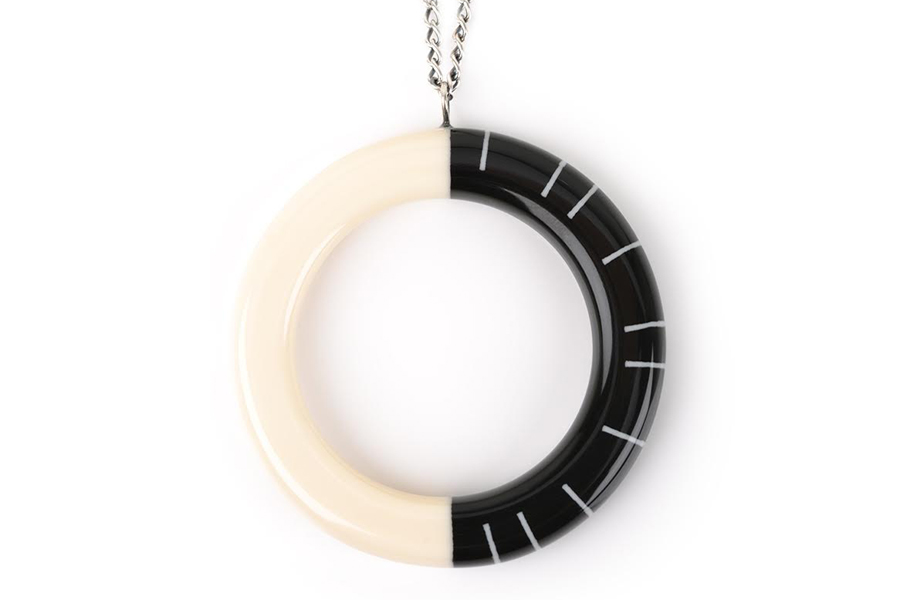 Lunula Pendant in Jet Black and Ivory