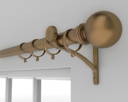 Brass ringed curtain pole