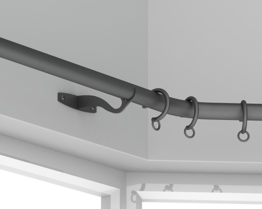 black matt curved curtain pole with rings
