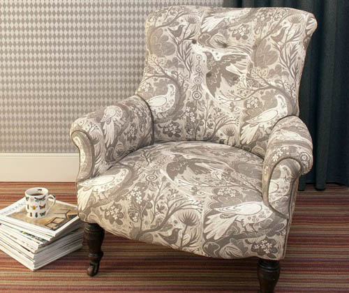 beige and white armchair