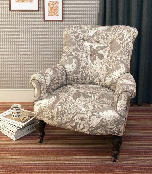 grey re-upholstered chair