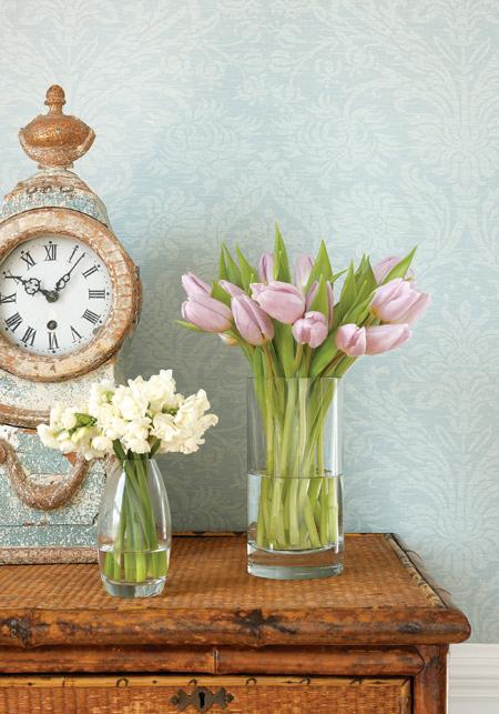 Clock against Whitney Damask Wallpaper