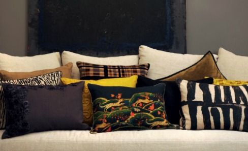 row of multicoloured cushions