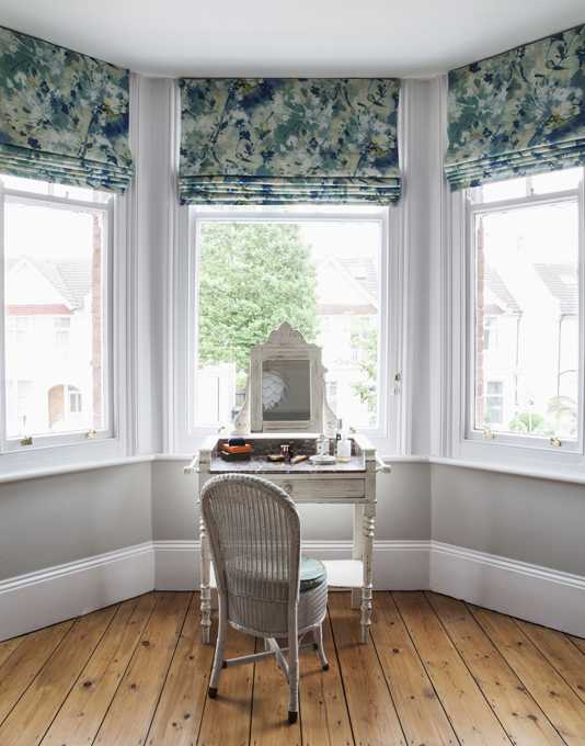 Teal patterned blinds in Simi Fabric