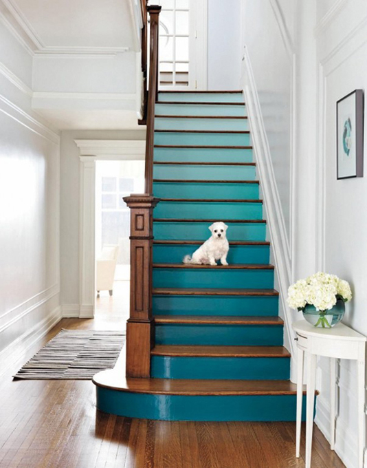 Teal painted staircase