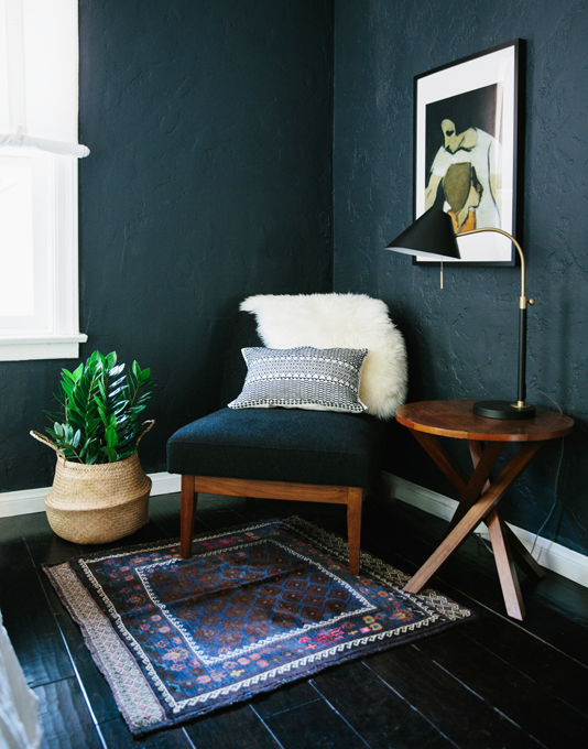 Moody teal corner with chair