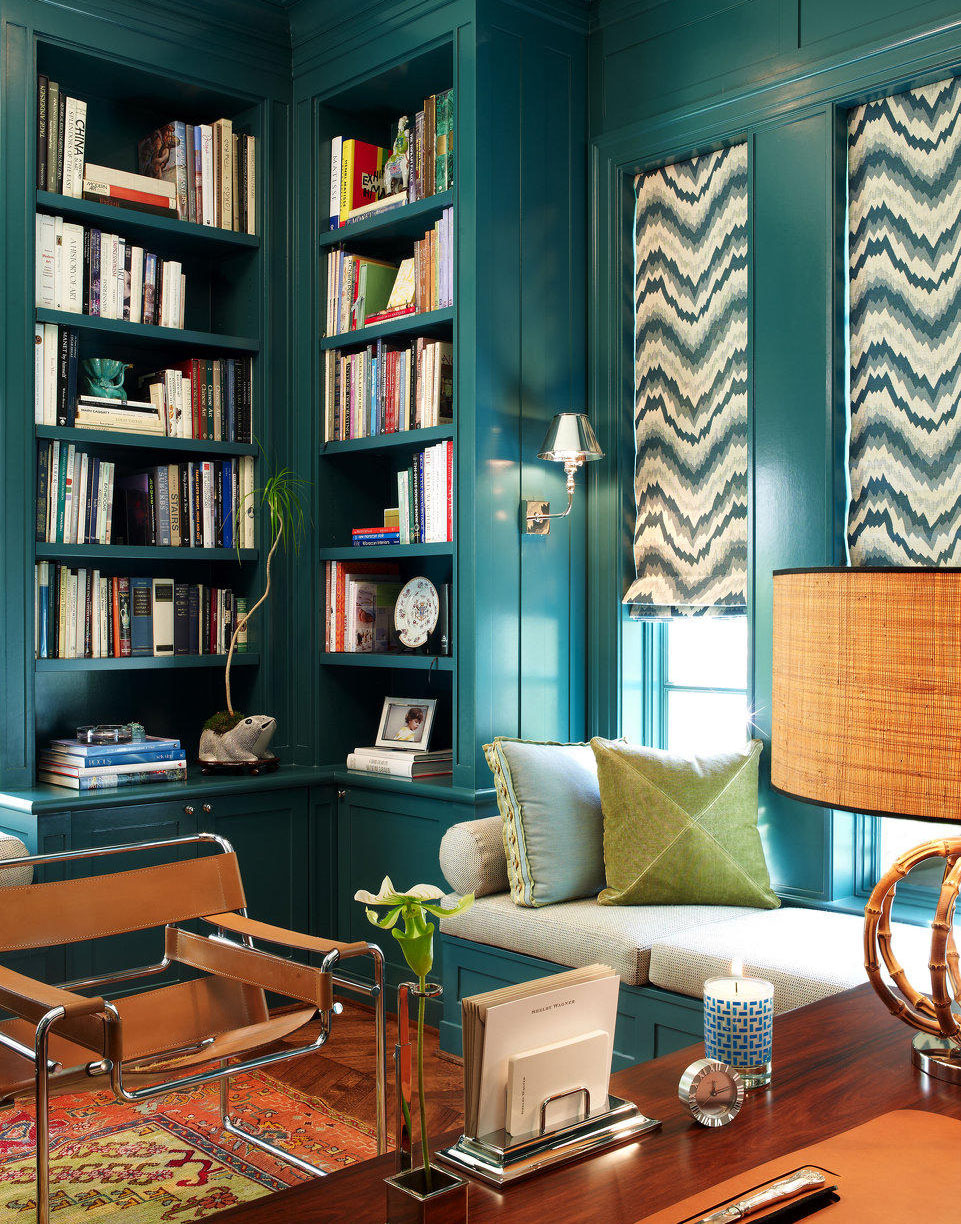 Teal study with patterned blinds