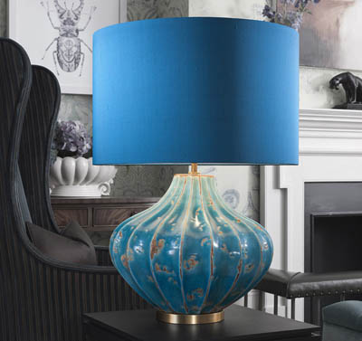 Table lamps in glass, ceramics and metals