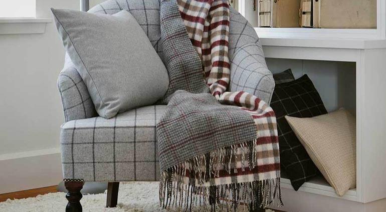 tartan fabric cushion, throw and chair