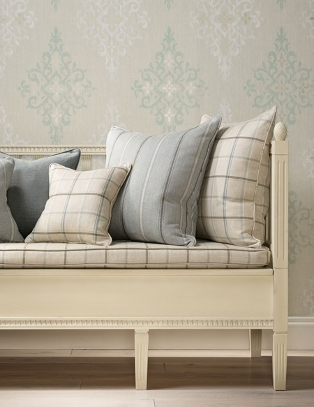 neutral tartan cushions and bolster