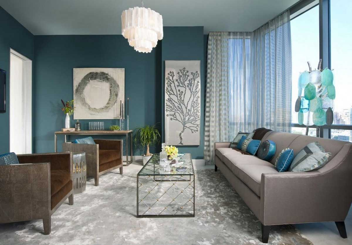 Teal And Grey Sitting Room Interior Design Ideas