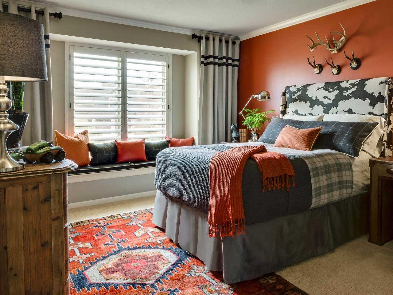 Smart Grey and Orange Boys Bedroom