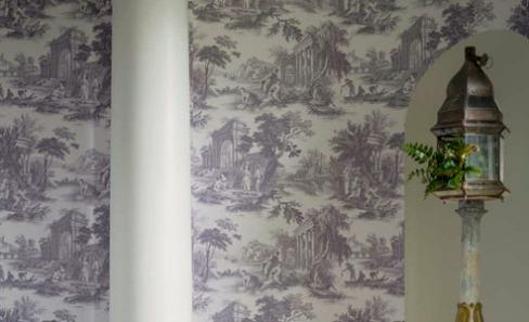 blue toile de jouy wallpaper