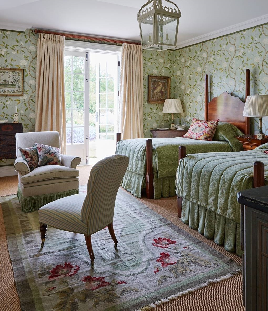 Green Floral Bedroom Decor
