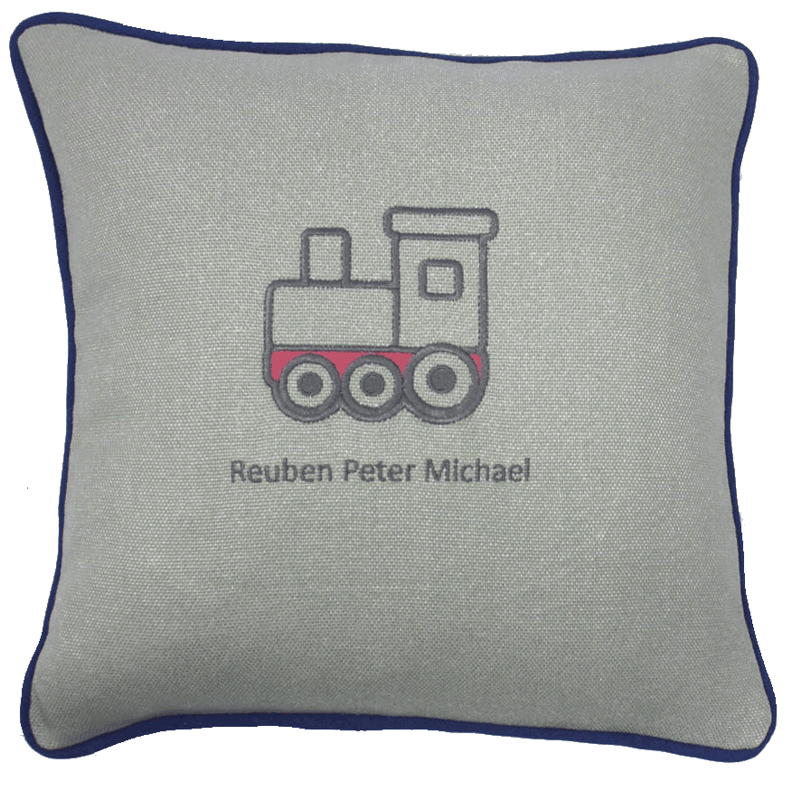 embriodered train cushion
