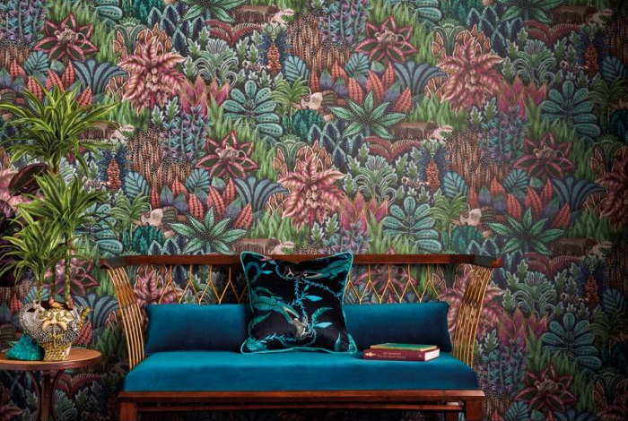 pink, green and blue jungle print wallpaper