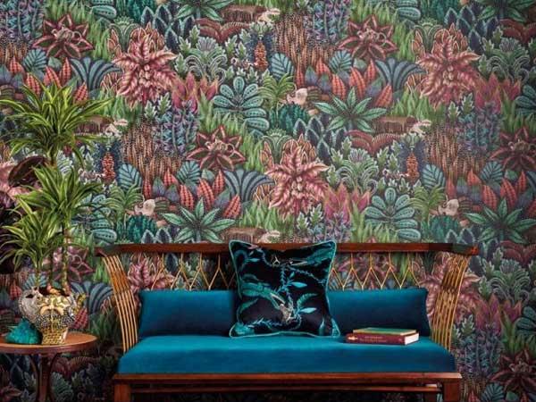 pink, green and blue jungle print wallpaper