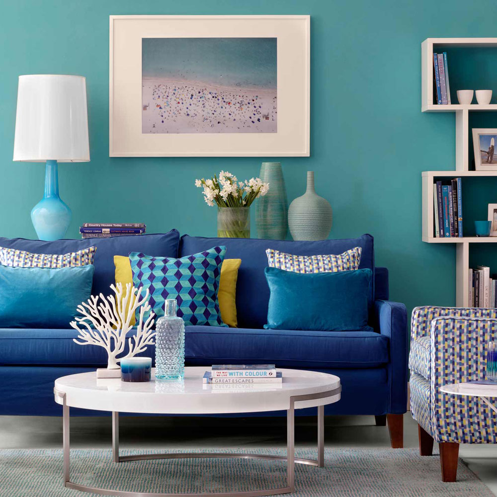 Brightly Painted Sitting Room in Turquoise, with Blue Sofa
